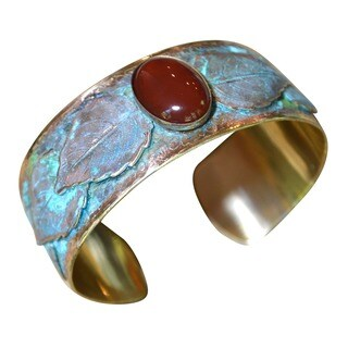 Handmade Verdigris Patina Solid Brass Overlapping Leaves Cuff Bracelet with Carnelian by Elaine Coyn