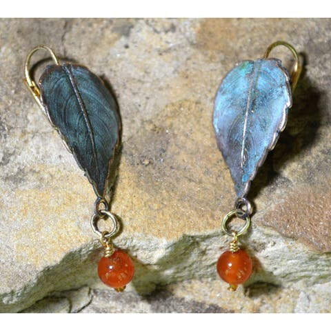 Handmade Verdigris Patina Classic Leaves Earrings with Carnelian (USA)