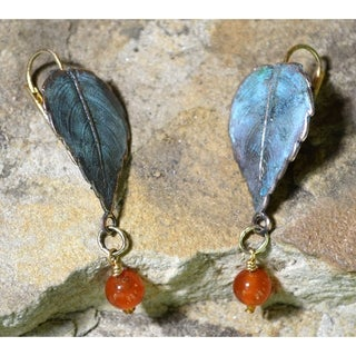 Handmade Verdigris Patina Solid Brass Classic Leaves Earrings with Carnelian by Elaine Coyne (USA)