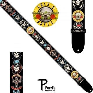 "Perris 2"" Polyester Licensed Guns N Roses Appetite For Destruction Large Skulls Guitar Strap Fully Adjustable From 39"" to 58"""