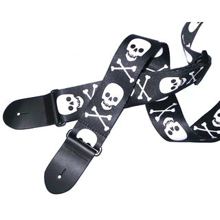 """Perris 2"""" Polyester Skull And Bones Guitar Strap Fully Adjustable From 39"""" to 58"""""""