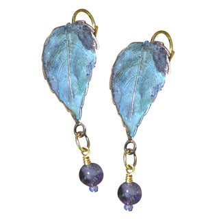 Handmade Verdigris Patina Solid Brass Classic Leaves Earrings with Amethyst by Elaine Coyne (USA) - Purple