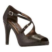 Women's Rose Petals by Walking Cradles Lissa Ankle Strap Sandal Black Patent Snake Leather