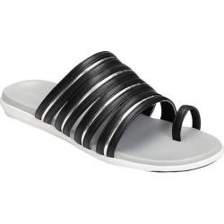Women's Aerosoles Watchtower Toe Loop Sandal Black Silver Faux Leather