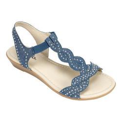 Women's Rialto Gemma T-Strap Sandal Dark Blue Denim Fabric