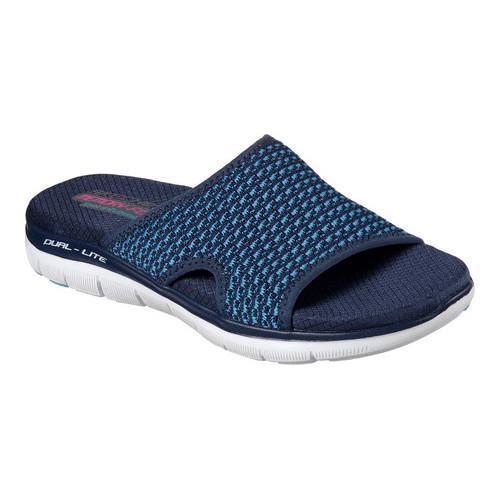 Women's Skechers Flex Appeal 2.0 Wont Stop Slide Sandal Navy/Turquoise