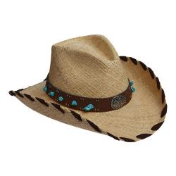 Women's Scala LR661OS Pinch Front Cowboy Hat w/ Turquoise Stone Natural