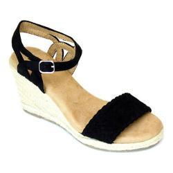 Women's White Mountain Crable Espadrille Wedge Sandal Black Synthetic