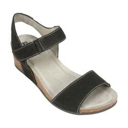 Women's White Mountain Haines Cork Wedge Sandal Black Leather