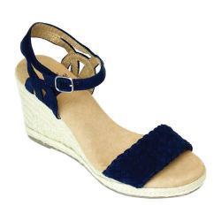 Women's White Mountain Crable Espadrille Wedge Sandal Navy Synthetic