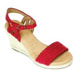 Women's White Mountain Crable Espadrille Wedge Sandal Red Synthetic