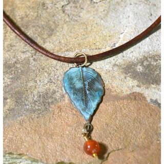 Verdigris Patina Classic Leaf Pendant on Rawhide with Carnelian