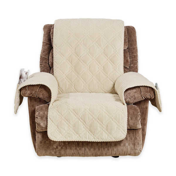 Sure Fit Wide Wale Corduroy Recliner Throw Furniture Protector   Free  Shipping Today   Overstock.com   23908982