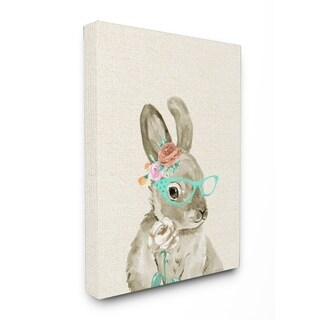 Stupell Industries Bunny W/ Glasses Canvas Wall Art