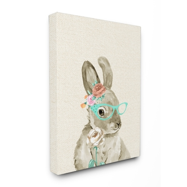 Shop Stupell Industries Bunny W/ Glasses Canvas Wall Art - On Sale ...