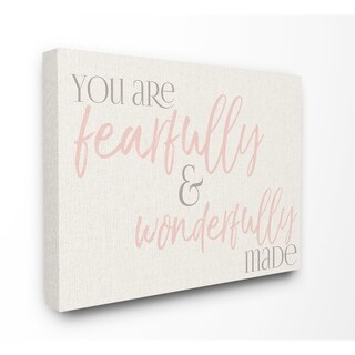 Stupell Industries Wonderfully Made Pink Canvas Wall Art