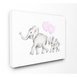 Stupell Industries Mama and Baby Elephants Canvas Wall Art