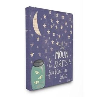 Stupell Industries Moon Stars Fireflies Canvas Wall Art