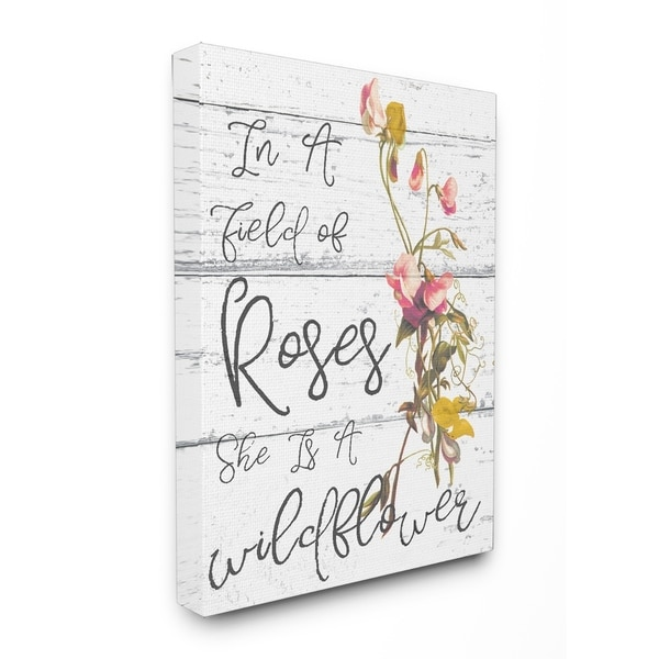 Stupell Industries Be a Wildflower Cursive Canvas Wall Art