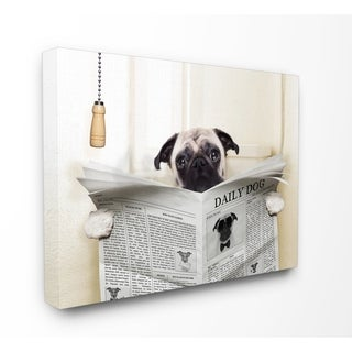 Stupell Industries Pug Reading Newspaper Canvas Wall Art