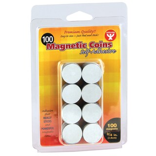 "Hygloss Self-Adhesive Magnetic 3/4"" Coins, 100/PK, Bundle of 6 Packs"