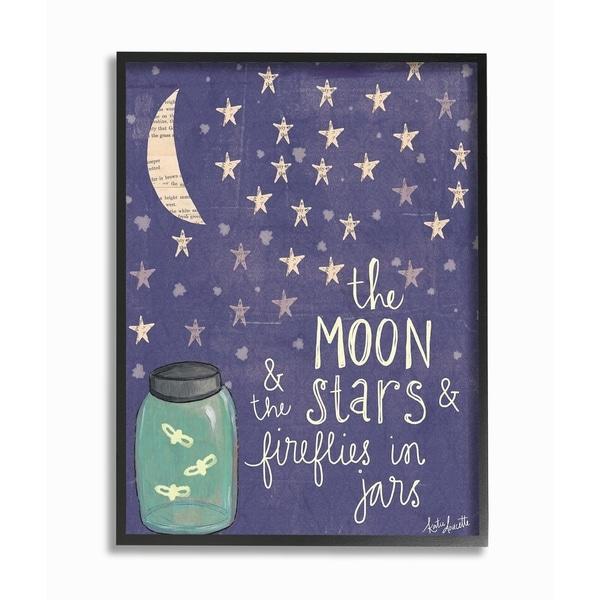 Stupell Industries Moon Stars Fireflies Framed Giclee Art