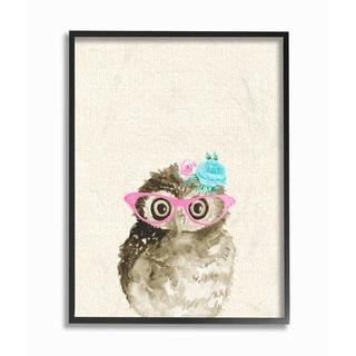 Stupell Industries Woodland Owl W/ Glasses Framed Giclee Art