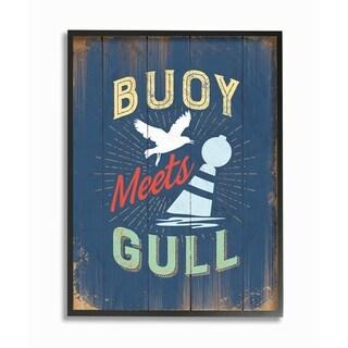 Stupell Industries Buoy Meets Gull Humor Framed Giclee Art