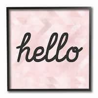 Stupell Industries Hello Pink Geometric Framed Giclee Art