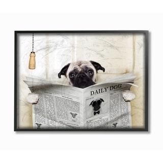 Stupell Industries Pug Reading Newspaper Framed Giclee Art