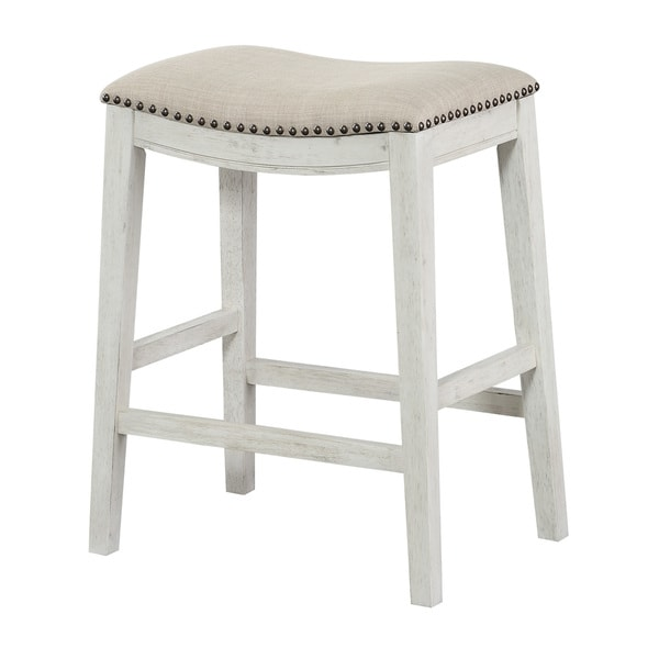 Osp Home Furnishings Metro Antique White And Beige Upholstered 24 Inch Saddle Bar Stool