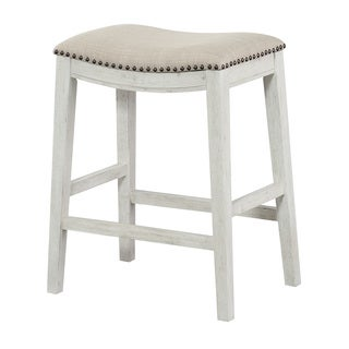 Office Star Products Metro Antique White and Beige Upholstered 24-inch Saddle Bar Stool (Set of 2)