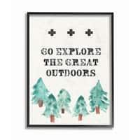 Stupell Industries Go Explore Outdoors Tree Framed Giclee Art