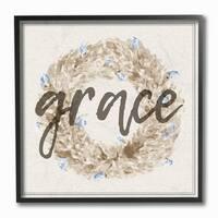 Stupell Industries Grace Floral Wreath Framed Giclee Art
