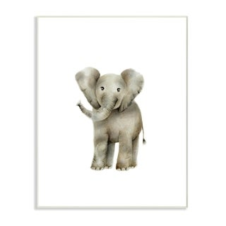 Stupell Industries Happy Baby Elephant Illustration Wall Plaque Art
