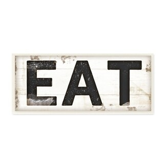 Stupell Industries EAT Typography Vintage Sign Wall Plaque Art