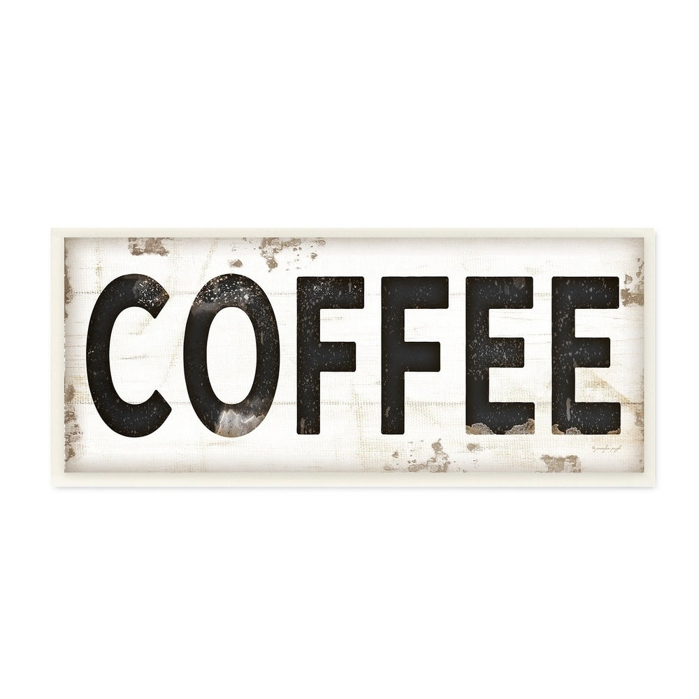 Stupell Industries COFFEE Typography Vintage Sign Wall Plaque Art
