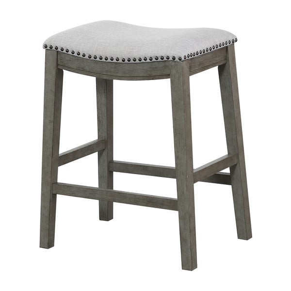 Shop The Gray Barn Arbakka Grey 24 Inch Saddle Bar Stools