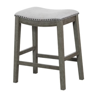 Office Star Products Metro Grey Fabric/Antique Grey Base 24-inch Saddle Bar Stools  sc 1 st  Overstock.com : fabric bar stools with backs - islam-shia.org