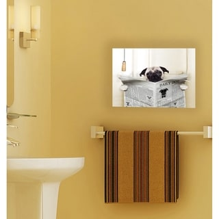 Stupell Industries Pug Reading Newspaper in Bathroom Wall Plaque Art