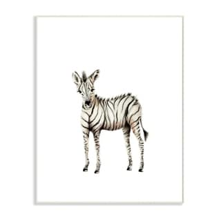 Stupell Industries Baby Zebra Illustration Wall Plaque Art