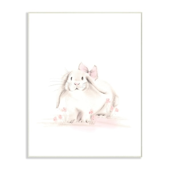 Stupell Industries Baby Bunny With Pink Bow Wall Plaque Art