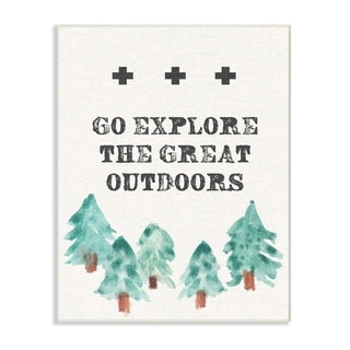 Stupell Industries Go Explore Tree Line Drawing Wall Plaque Art