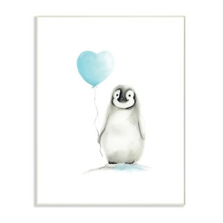 Stupell Industries Baby Penguin with Blue Balloon Wall Plaque Art