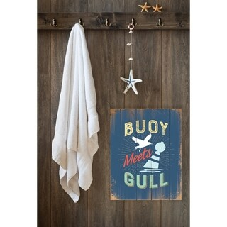 Stupell Industries Buoy Meets Gull Humor Wall Plaque Art