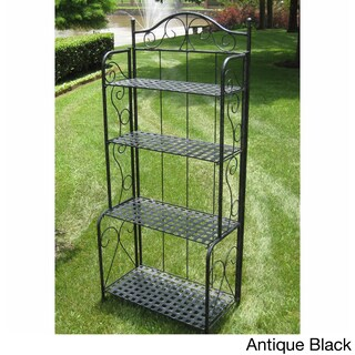 International Caravan Mandalay 4-tier Iron Folding Bakers Rack (Option: Antique Black)