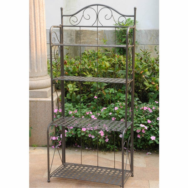 International Caravan Mandalay 4-tier Iron Folding Bakers Rack