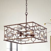 Yahnit 4-Light 17-Inch Square Rustic Iron Pendant