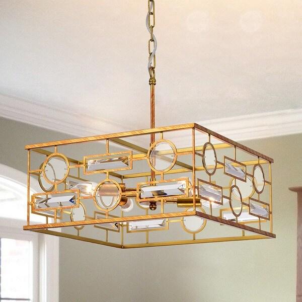 Eebah 4-Light 17-Inch Square Gold Pendant
