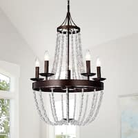 Ruesen 5-Light 22-Inch Antique Bronze Crystal Chandelier